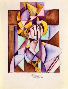 Woman in a Plumed Hat Artwork by Jean Metzinger