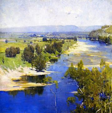 The purple moon's transparent might Artwork by Sir Arthur Streeton