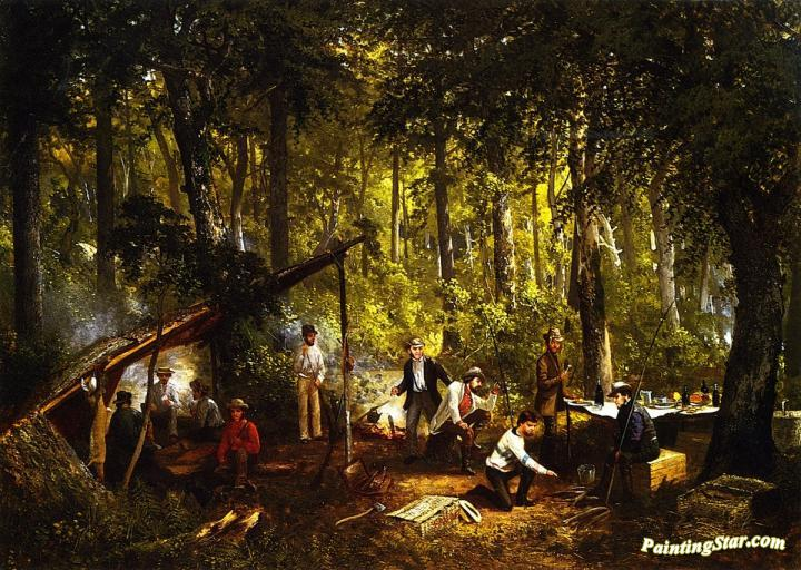 A Hunting Party In The Woods Artwork By Frederick Rondel