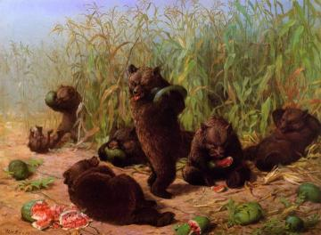 Bears in the Watermelon Patch Artwork by William Holbrook Beard