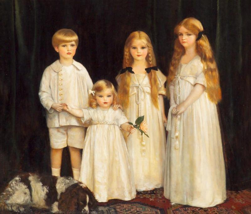 Portrait Of Fraunces, Beatrice, James And Synfye, Children Of James Christie, Esq. Artwork by Frank Cadogan Cowper, R.A.
