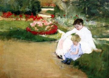 Woman and Child Seated in a Garden Artwork by Mary Cassatt