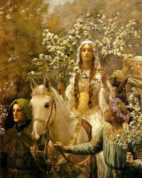 Queen Guinevre's Maying Artwork by John Maler Collier