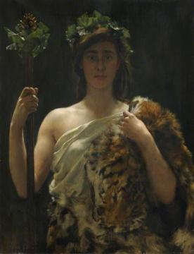 Young Girl Draped in a Tiger Skin Artwork by John Maler Collier