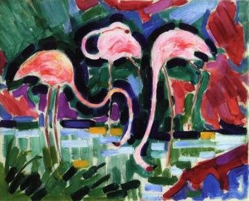 Three Pink Flamingos Artwork by Jean Metzinger