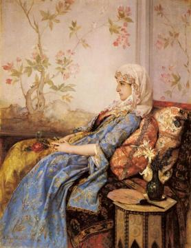 An Exotic Beauty in an Interior Artwork by Auguste Toulmouche