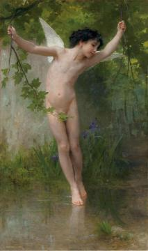 Cupid Flying Over Water Artwork by William Adolphe Bouguereau