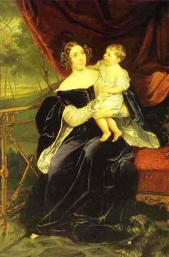 Portrait of Countess O.I.Orlova-Davydova and Her Daughter Artwork by Karl Pavlovich Bryullov