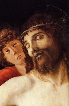 The Dead Christ Supported by Two Angels [detail] Artwork by Giovanni Bellini