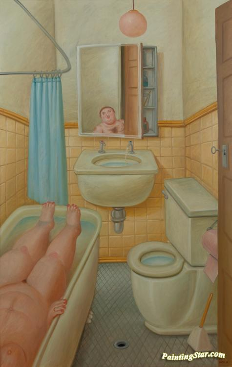 The Bathroom Artwork by Fernando Botero Oil Painting & Art Prints on canv...