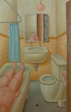 The Bathroom Artwork by Fernando Botero
