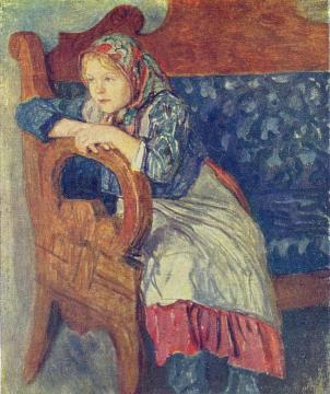 Girl on a Sofa Artwork by Nikolai Petrovich Bogdanov-belsky