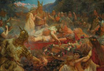 Death Of A Viking Warrior Artwork by Charles Ernest Butler