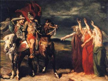 Macbeth and Banquo Encountering the Three Witches on the Heath Artwork by Theodore Chasseriau