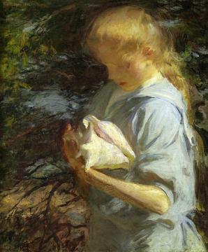 Eleanor Holding A Shell, North Haven, Maine Artwork by Frank W. Benson