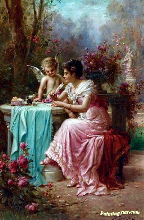 The Love Letter Artwork By Hans Zatzka Oil Painting & Art