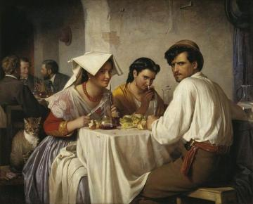 In A Roman Osteria (fra Et Romersk Osteria) Artwork by Carl Heinrich Bloch