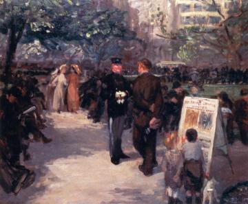 Recruiting In Union Square Artwork by John Sloan