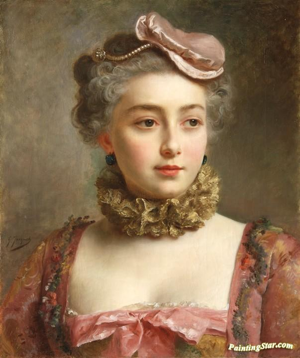 Portrait Of A Young Lady Artwork By Gustave Jean Jacquet Oil ...
