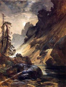 Moonlight, Devil's Den Artwork by Thomas Moran