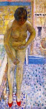 Nude with Red Slippers Artwork by Pierre Bonnard