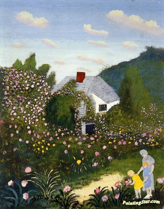 The Rose Garden Artwork By Anna Mary Robertson Grandma Moses