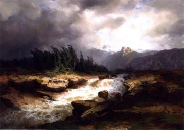 Mountain Torrent before a Storm Artwork by Alexandre Calame