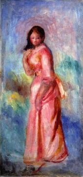 Girl in Pink Artwork by Pierre Auguste Renoir