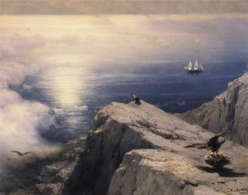 A Rocky Coastal Landscape in the Aegean with Ships in the Distance (detail) Artwork by Ivan Constantinovich Aivazovsky