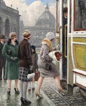 At the tram stop Artwork by Paul Gustave Fischer