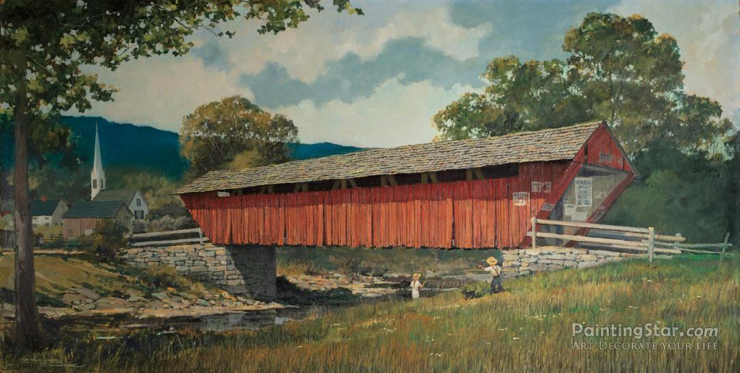 old covered bridge artwork by eric sloane oil painting