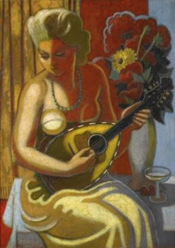 Woman With A Mandolin Artwork by Jean Metzinger