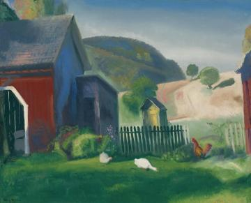 Barnyard And Chickens Artwork by George Wesley Bellows