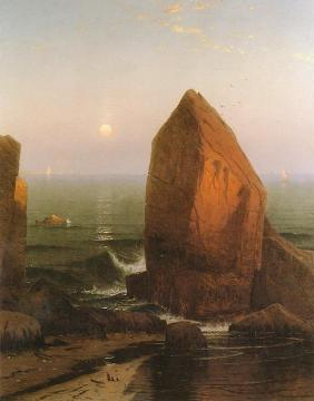 Sunset-Moonrise, on Iron Round Island, Mr. Desert, Maine Artwork by Alfred Thompson Bricher