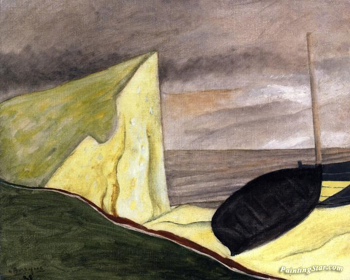 Cliff And Beached Boat Artwork By Georges Braque Oil