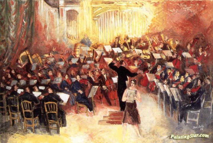 polyphonic orchestra artwork by jean dufy oil painting art prints on canvas for sale. Black Bedroom Furniture Sets. Home Design Ideas