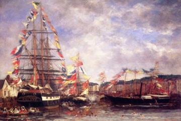 Festival in the Harbor of Honfleur Artwork by Eugène-Louis Boudin