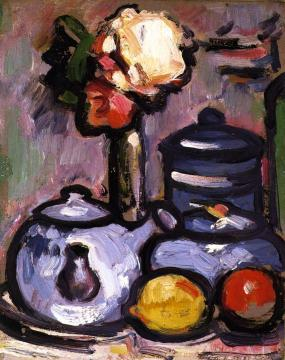 Still LIfe: Teapot with Flowers and Fruit Artwork by John Duncan Fergusson
