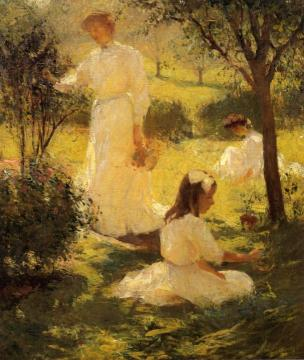 Girls in the Garden Artwork by Frank W. Benson