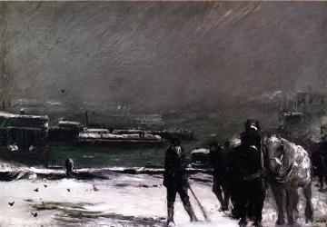 Docks in Winter Artwork by George Wesley Bellows