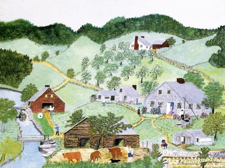 The Old Oaken Bucket In Summer Artwork By Anna Mary Robertson Grandma Moses  Oil Painting & Art Prints On Canvas For Sale - PaintingStar.com Art Online  Store