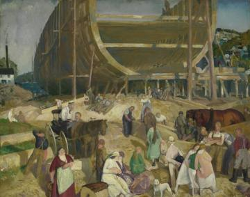 Shipyard Society Artwork by George Wesley Bellows