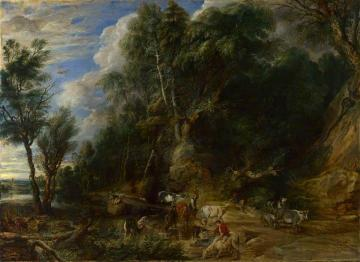 Peasants with Cattle by a Stream in a Woody Landscape Artwork by Peter Paul Rubens