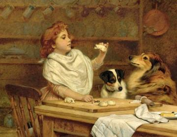 The Little Baker With Her Two Assistants Artwork by Charles Burton Barber