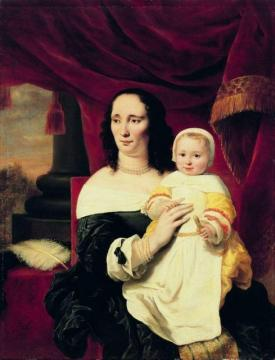 Portrait of Johana de Geer-Trip with daughter Artwork by Ferdinand Bol