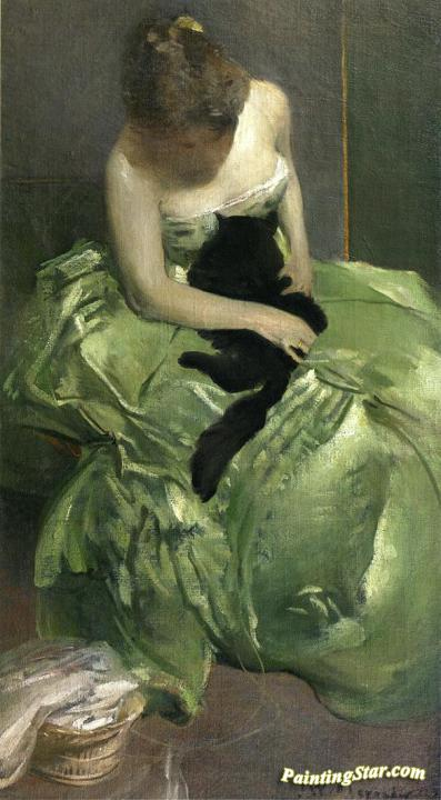 The Green Dress Artwork By John White Alexander Oil Painting & Art Prints  On Canvas For Sale - PaintingStar.com Art Online Store