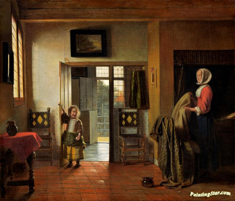 The Bedroom Artwork By Pieter De Hooch Oil Painting Art Prints On Canvas For Sale Paintingstar Com Art Online Store