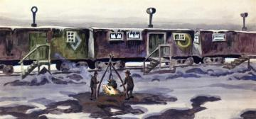 Freight Car Dwellings Artwork by Charles Burchfield