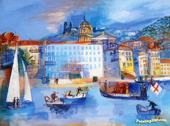 the h tel welcome at villefranche sur mer artwork by jean dufy oil painting art prints on. Black Bedroom Furniture Sets. Home Design Ideas