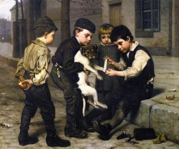 The Wounded Playfellow Artwork by John George Brown
